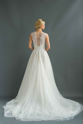 Sabrina Dahan 2016 back of A-line wedding dress with illusion back and buttons