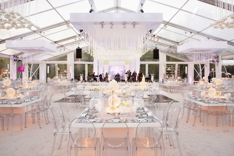 Rainingblossoms Wedding Receptions Tents Decoration: All-White Reception Under Clear