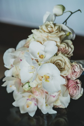 bridal bouquet with blush roses, white spray roses, white cymbidium orchids & phalaenopsis orchids