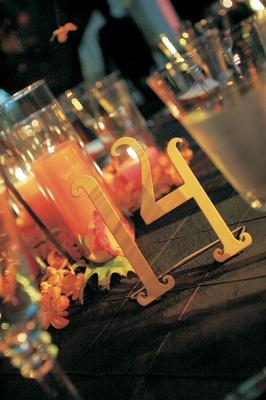 Slightly curved metal wedding reception number