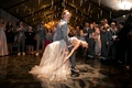Alexis Cozombolidis and Hunter Pence wedding reception dancing on dance floor first dance dip candle