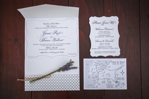 Wedding invitation suite with purple script writing, area map