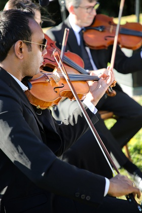 trio of string musicians performing at wedding ceremony
