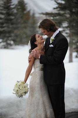 Jared Padalecki and Genevieve Cortese at snow wedding