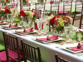 Rectangular table with festive chairs