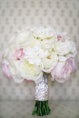 White and pink peonies, garden rose, and gardenia bouquet