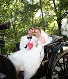newlyweds back carriage west virginia wedding vera wang dress white tux jacket happy love