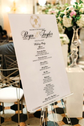 detroit lions tackle taylor decker wedding, ceremony program sign