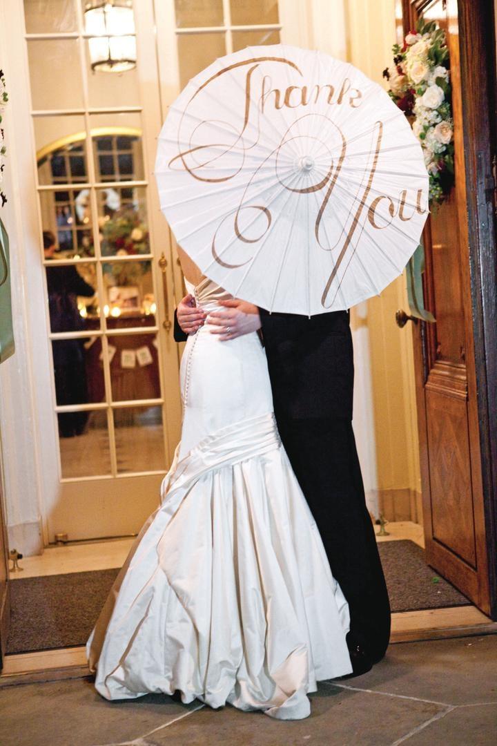 Laura Hooper Calligraphy Thank You wedding parasol