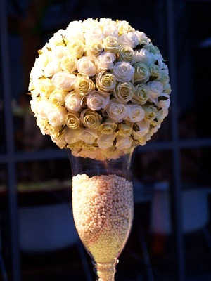 Rose pomander in vase of pearls