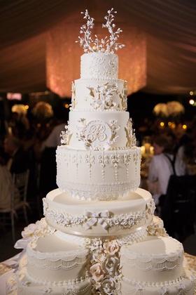 White wedding cake very traditional white cream layers monogram ribbon southern style
