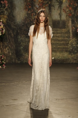 """lace """"venetia"""" gown with illusion neckline by jenny packham"""