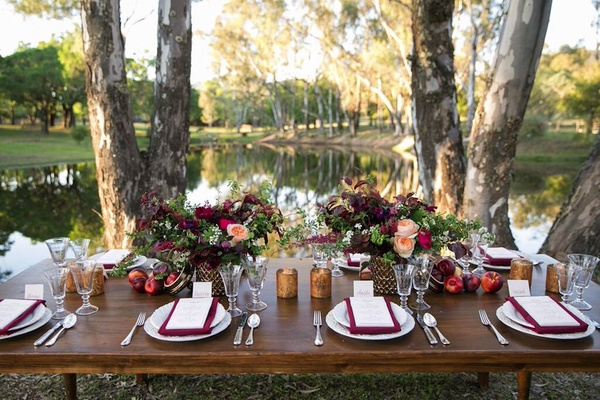 LVL Events lake wedding marsala table decorations