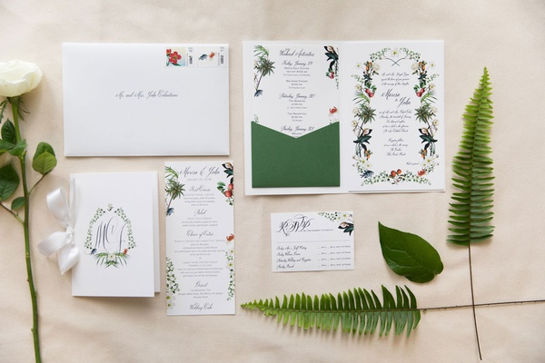 five part invitation suite with custom illustrations