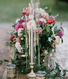wood table metallic candle votive taper candle pink dahlia mum garden rose greenery flowers