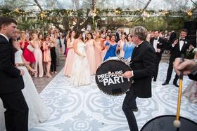 wedding reception dance floor tent wedding spanish tile motif vinyl prepare to party drum dancing