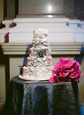 Five layer wedding cake with sugar flower rose with cascading ombre petals