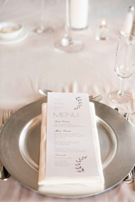 simple modern dinner menu design stems silver gray mod font silver charger classic wedding
