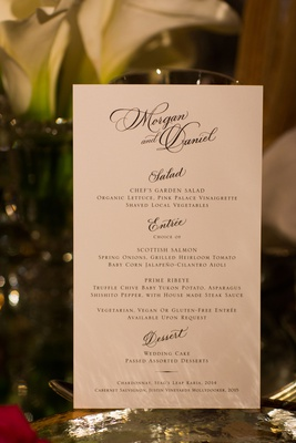 Wedding reception menu calligraphy names and salad entree dessert selections in block lettering