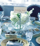 Wedding reception table inspired by ocean and sand