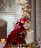 wedding reception cake ideas white fondant design ombre cake burgundy to pink to white fresh flowers