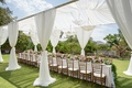 White drapes surrounding long bridal shower table with flower table runner and parasols overhead