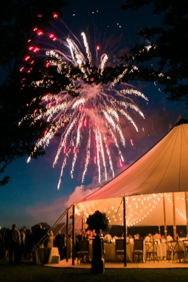 Wedding reception surprise firework show after dinner tent wedding