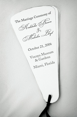 Black and white wedding program fans