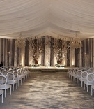 White and grey wedding ceremony decorations for ballroom