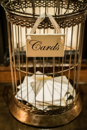 Wedding gift card box antique looking bird cage instead of box
