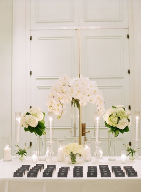 wedding reception escort card table outside ballroom black escort cards white rose hydrangea orchid