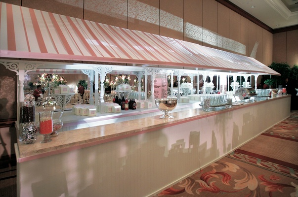 Dessert bar with pink and white stripes