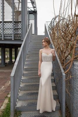 Limor Rosen 2017 Evelyn wedding dress with georgette mermaid skirt with blouson top Urban Dreams