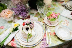 Luxe Linen flower print tablecloth with The Butter End sponge cake