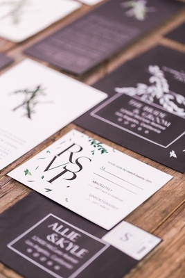 Black capitalized invites with white response cards