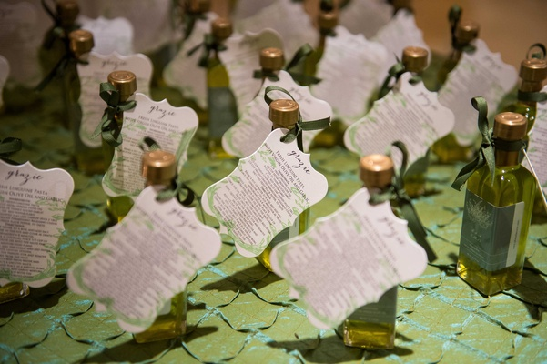couple gave out their own small bottles of olive oil as favors as a nod to their current home italy