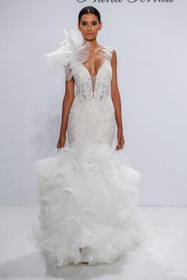 Pnina Tornai for Kleinfeld 2017 Dimensions Collection mermaid wedding dress ruffle skirt tulle