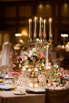 Gold candelabra wedding reception centerpiece pink white flowers anemone peony rose gold charger