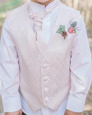 pastel pink ring bearer style vest boutonniere wildflowers blush english british wedding UK