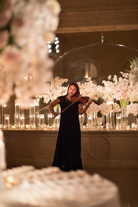 new york city wedding ceremony entertainment woman playing violin musician