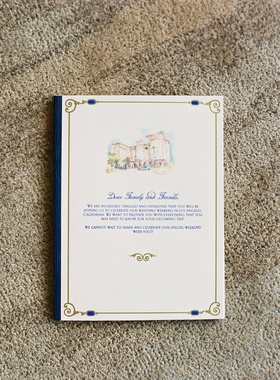 Wedding invite with watercolor painting of Beverly Hills