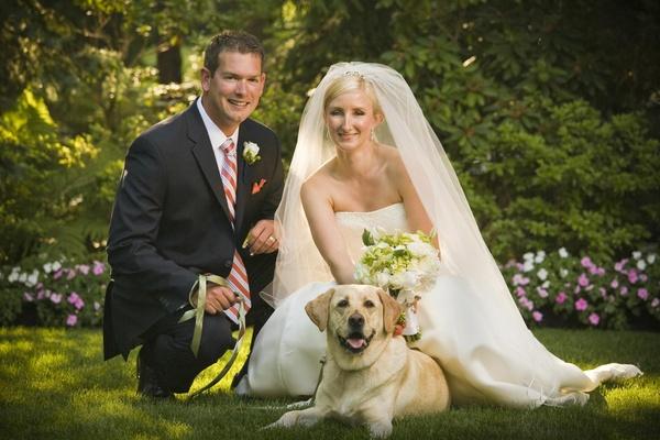 Wedding couple with pet in wedding