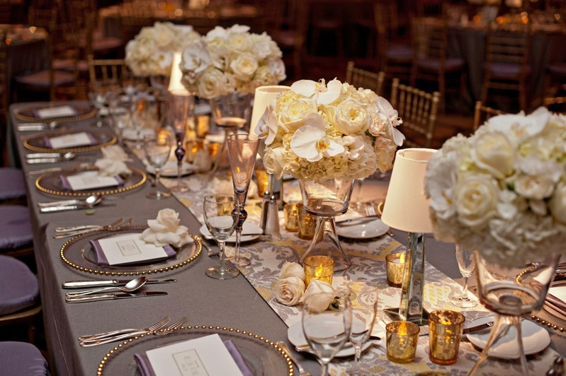 Silver tablecloth and runner with short centerpieces