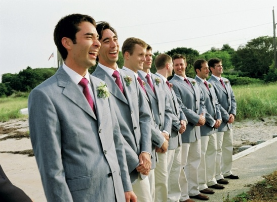 Khaki pants and light grey jackets for groomsmen