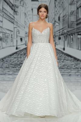 Justin Alexander Spring Summer 2017 spaghetti strap beaded wedding dress with geo print a line skirt