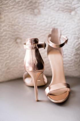 rose gold sandals bridal heels ankle strap