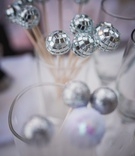 Tiny mirrored disco balls and lavender decor