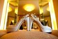Satin platform Stuart Weitzman heels with buckles