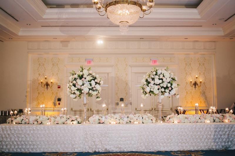 Reception Décor Photos - Elegant Head Table - Inside Weddings