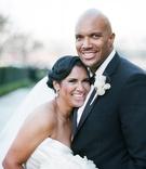 African American bride and groom in formal wedding attire